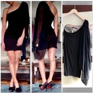 Alice + Olivia One Shoulder Cape Dress